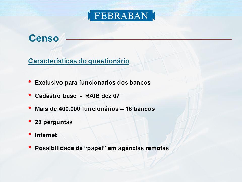 Características do questionário Exclusivo para funcionários dos bancos Cadastro base - RAIS dez 07 Mais de 400.000 funcionários – 16 bancos 23 pergunt