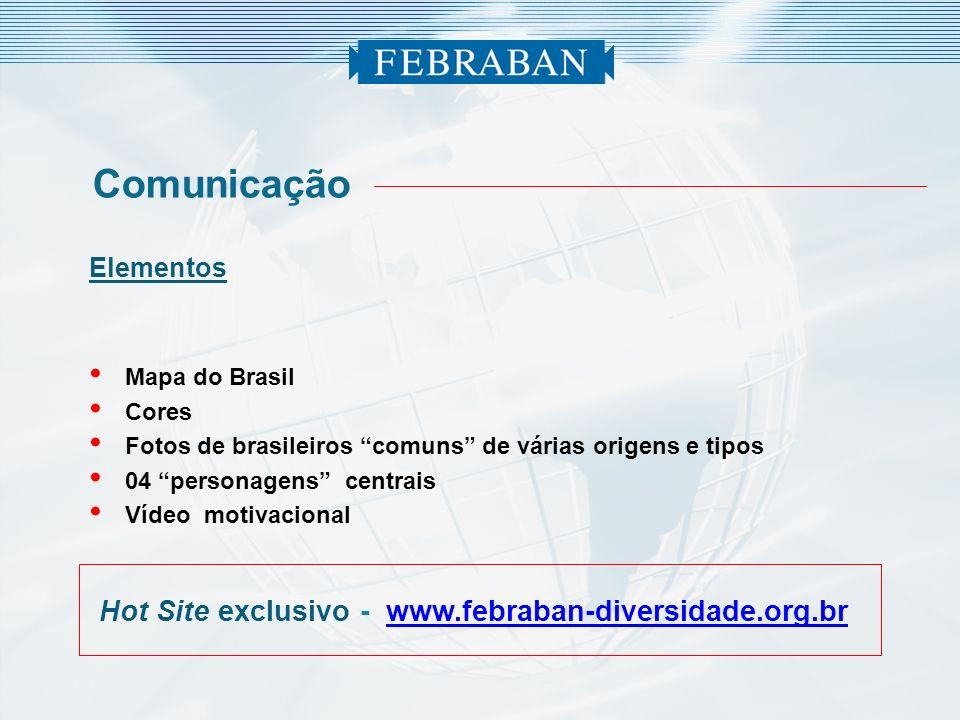 Elementos Mapa do Brasil Cores Fotos de brasileiros comuns de várias origens e tipos 04 personagens centrais Vídeo motivacional Comunicação Hot Site e