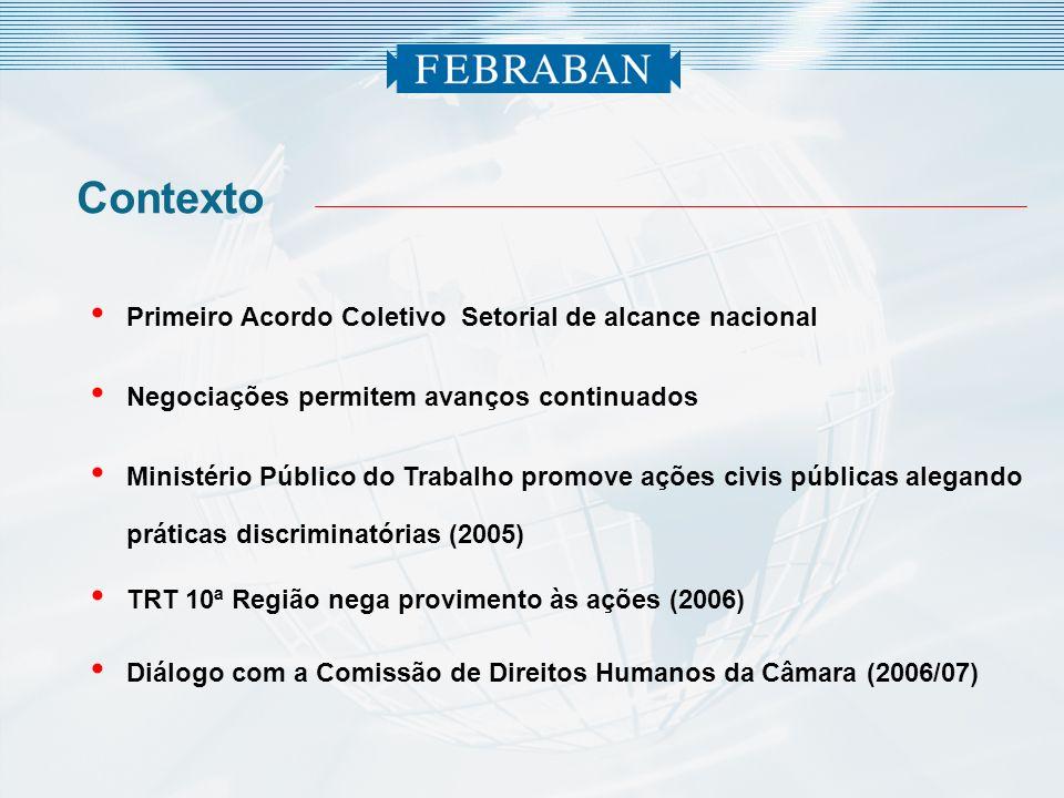 Contexto Primeiro Acordo Coletivo Setorial de alcance nacional Negociações permitem avanços continuados Ministério Público do Trabalho promove ações c