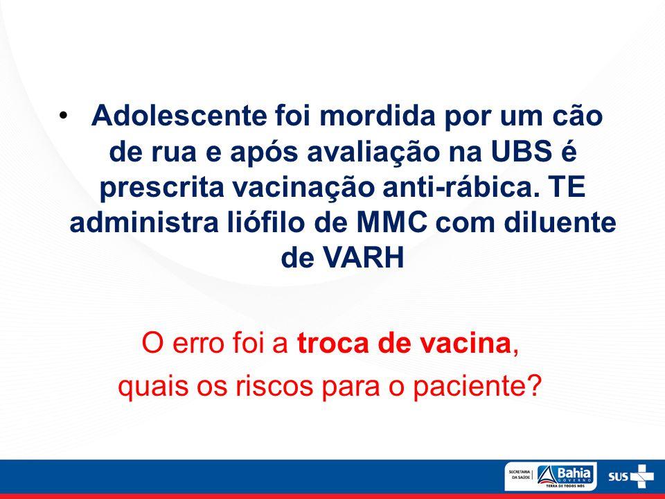 Adolescente foi mordida por um cão de rua e após avaliação na UBS é prescrita vacinação anti-rábica.