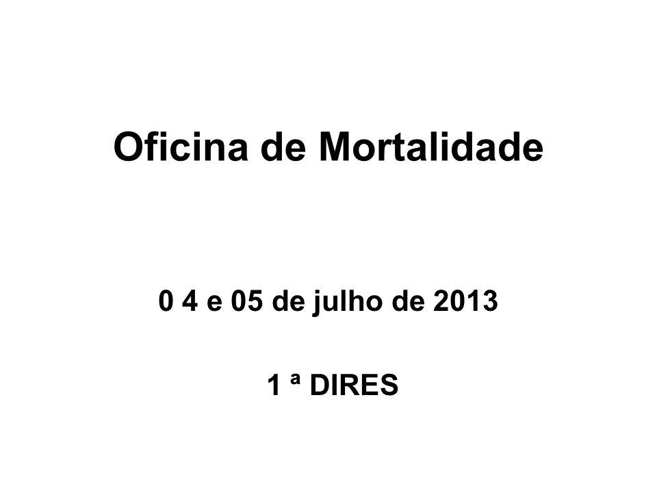 Oficina de Mortalidade 0 4 e 05 de julho de 2013 1 ª DIRES