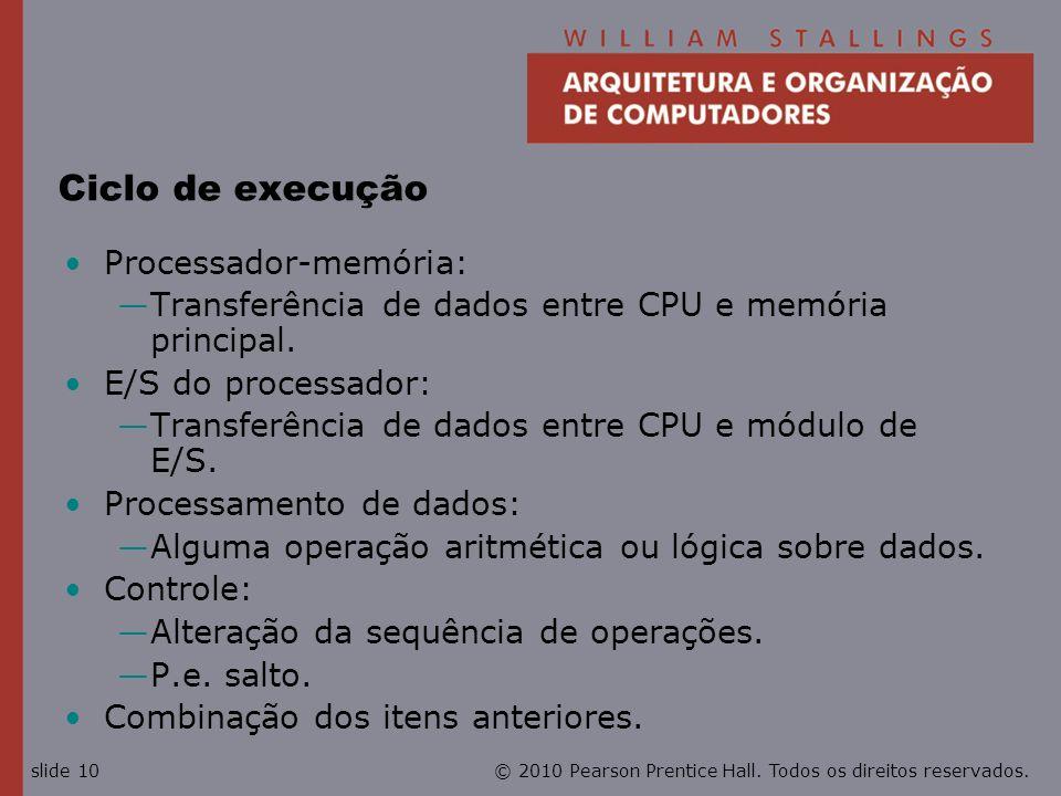 © 2010 Pearson Prentice Hall. Todos os direitos reservados.slide 10 Ciclo de execução Processador-memória: Transferência de dados entre CPU e memória