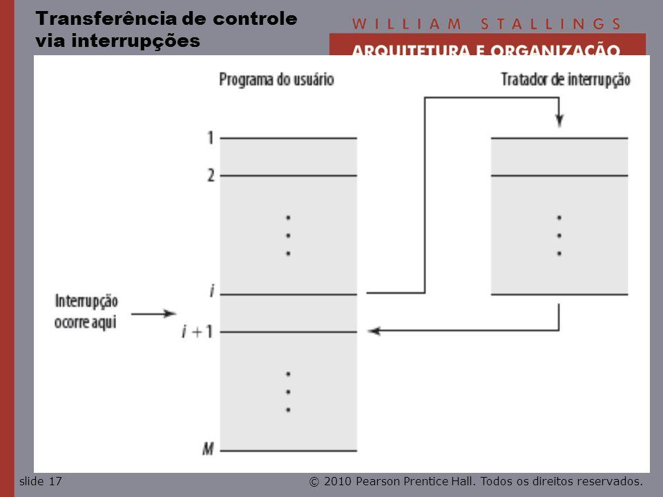© 2010 Pearson Prentice Hall. Todos os direitos reservados.slide 17 Transferência de controle via interrupções