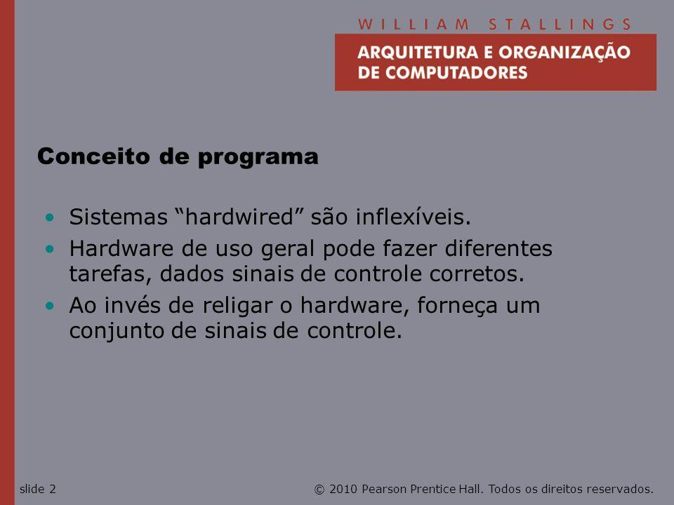 © 2010 Pearson Prentice Hall. Todos os direitos reservados.slide 2 Conceito de programa Sistemas hardwired são inflexíveis. Hardware de uso geral pode