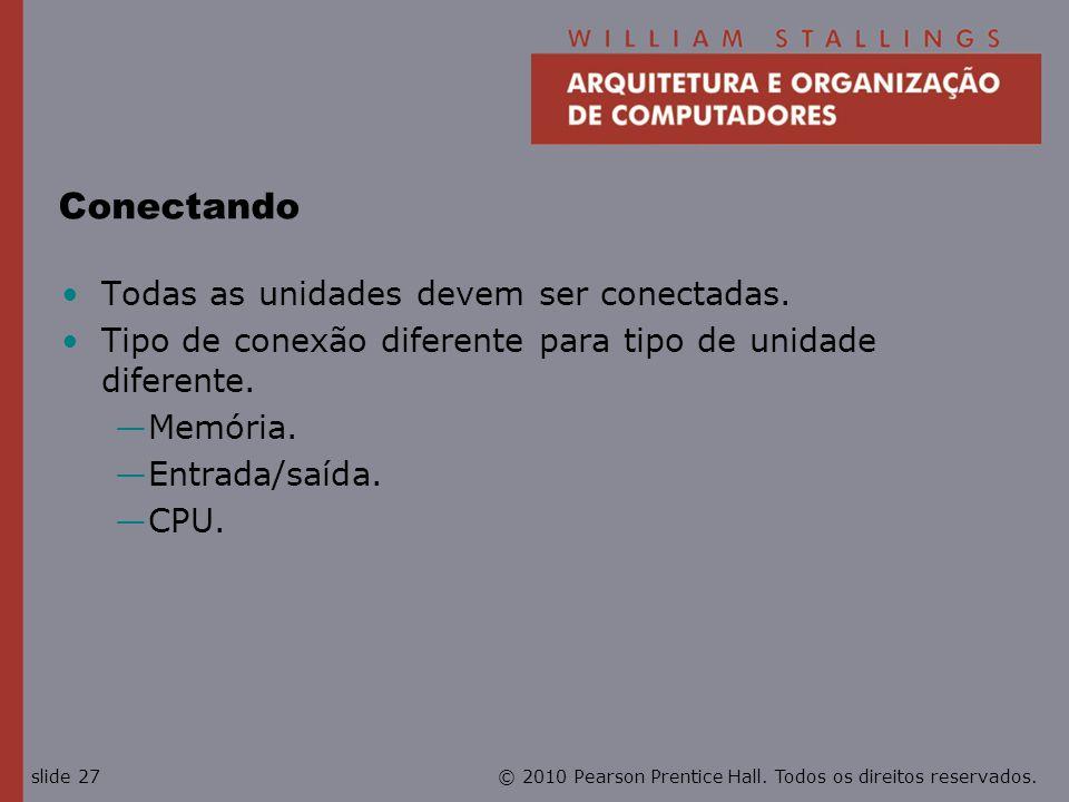 © 2010 Pearson Prentice Hall. Todos os direitos reservados.slide 27 Conectando Todas as unidades devem ser conectadas. Tipo de conexão diferente para