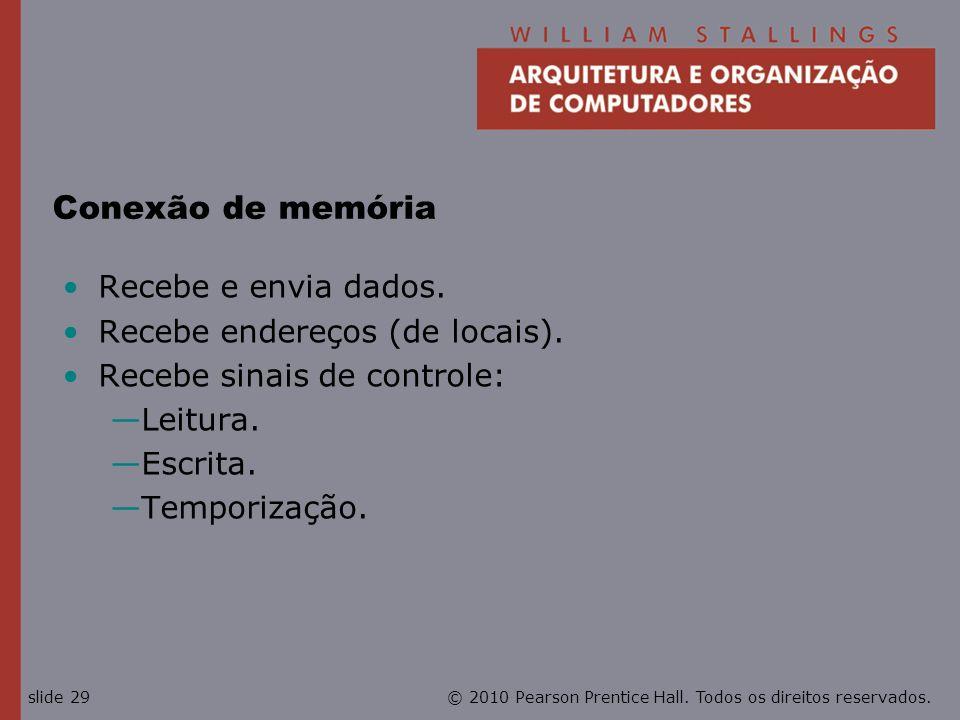© 2010 Pearson Prentice Hall. Todos os direitos reservados.slide 29 Conexão de memória Recebe e envia dados. Recebe endereços (de locais). Recebe sina