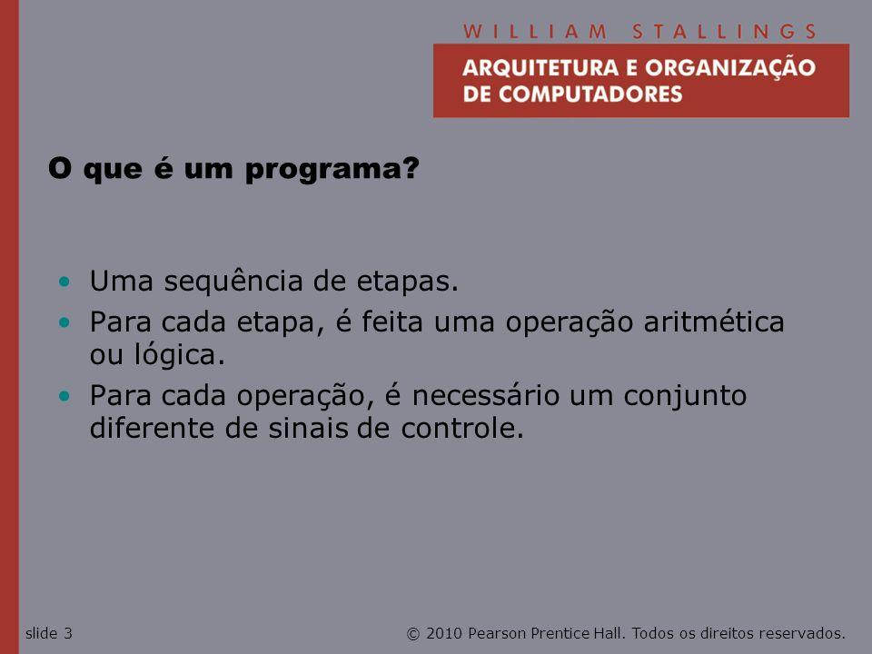© 2010 Pearson Prentice Hall. Todos os direitos reservados.slide 3 O que é um programa? Uma sequência de etapas. Para cada etapa, é feita uma operação
