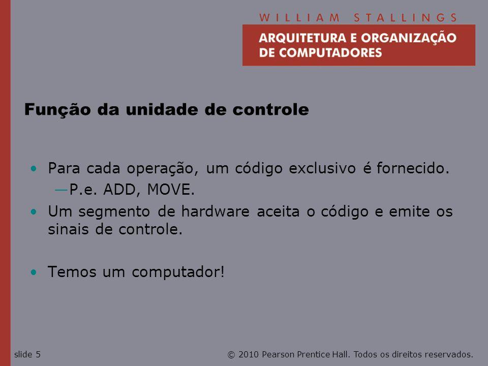 © 2010 Pearson Prentice Hall. Todos os direitos reservados.slide 5 Função da unidade de controle Para cada operação, um código exclusivo é fornecido.