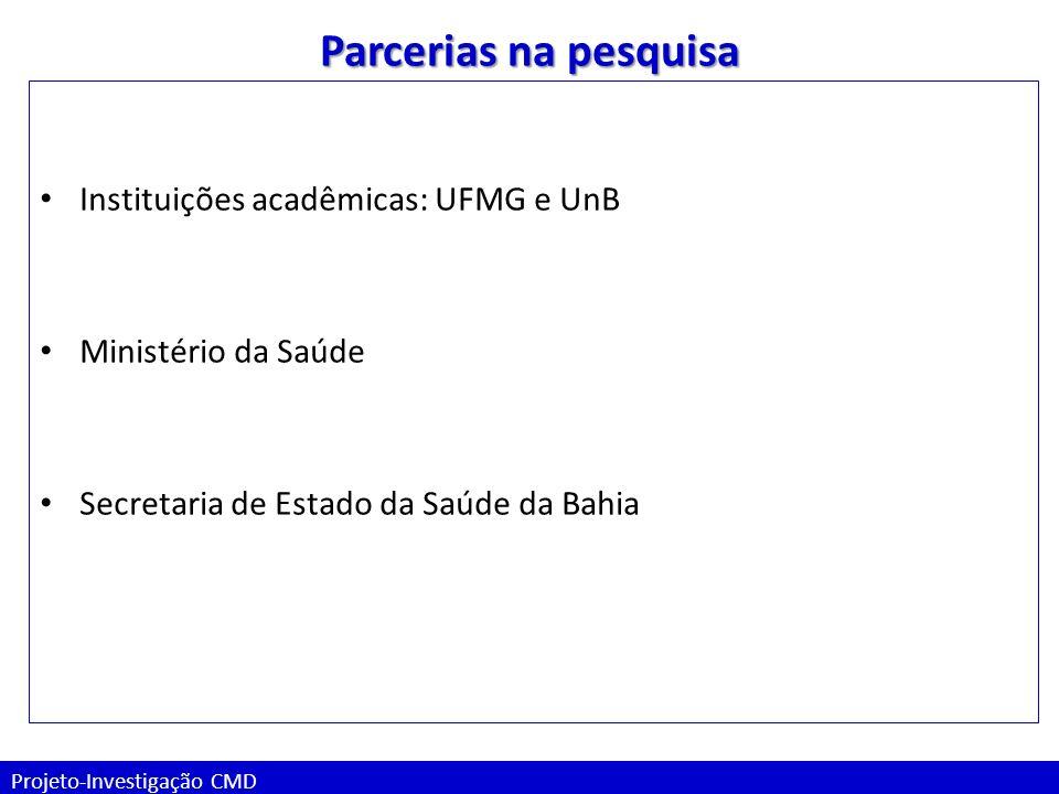 Projeto-Investigação CMD Parcerias na pesquisa Instituições acadêmicas: UFMG e UnB Ministério da Saúde Secretaria de Estado da Saúde da Bahia