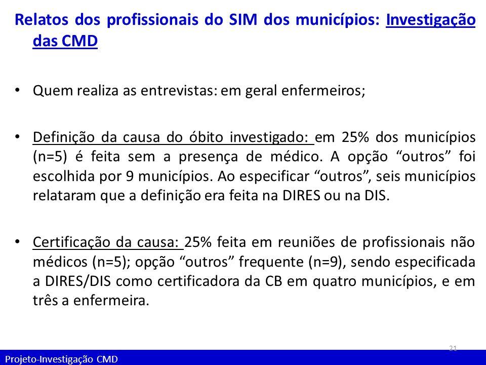 Projeto-Investigação CMD Relatos dos profissionais do SIM dos municípios: Investigação das CMD Quem realiza as entrevistas: em geral enfermeiros; Defi