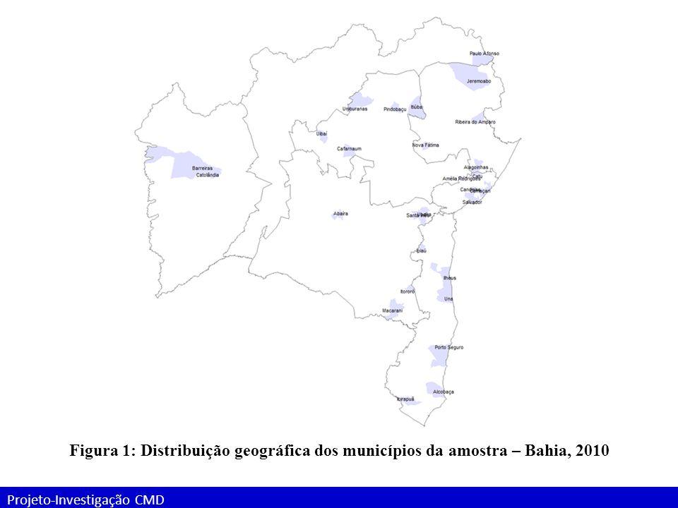 Projeto-Investigação CMD Entrevistas com informantes-chave: Resultados Tabela x - Características dos profissionais de saúde entrevistados nas SMS dos municípios da amostra.