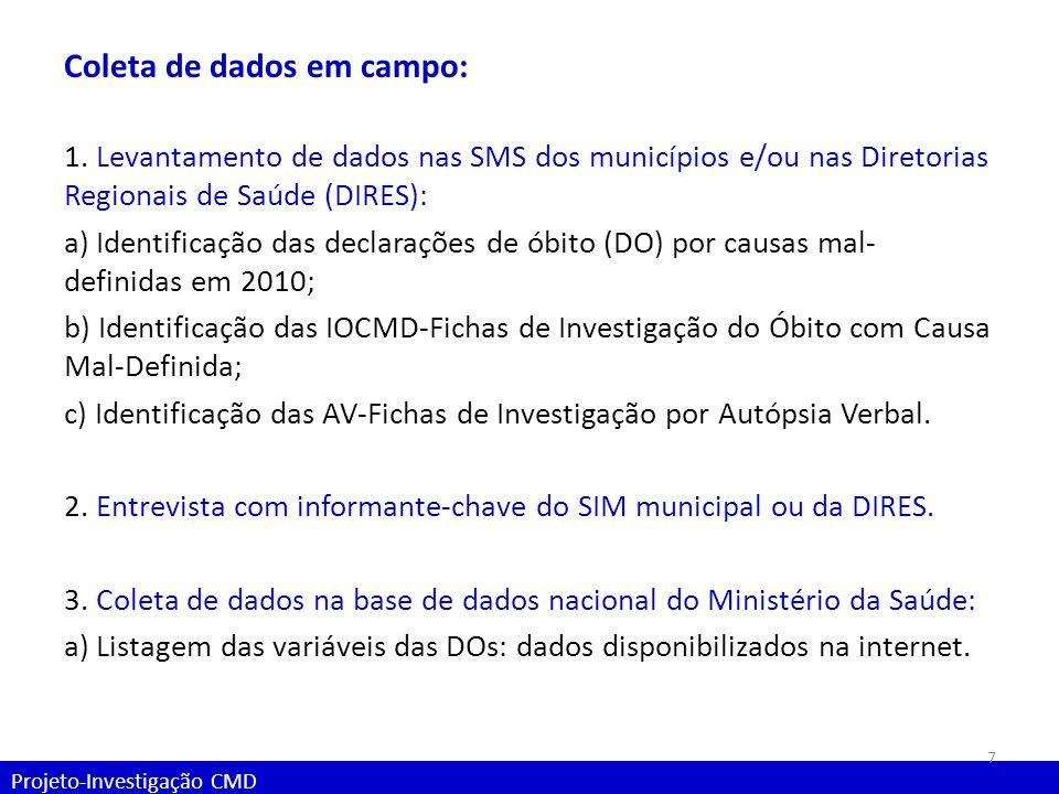 Projeto-Investigação CMD Coleta de dados em campo: 1. Levantamento de dados nas SMS dos municípios e/ou nas Diretorias Regionais de Saúde (DIRES): a)