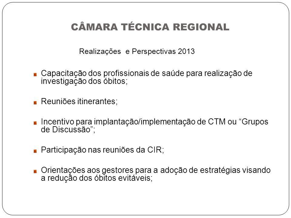 CÂMARA TÉCNICA REGIONAL Realizações e Perspectivas 2013 Capacitação dos profissionais de saúde para realização de investigação dos óbitos; Reuniões it