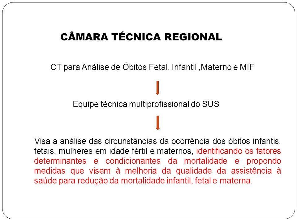 CÂMARA TÉCNICA REGIONAL CT para Análise de Óbitos Fetal, Infantil,Materno e MIF Equipe técnica multiprofissional do SUS Visa a análise das circunstânc
