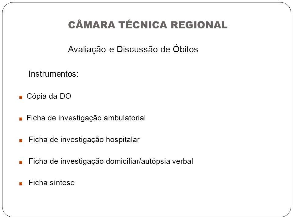 CÂMARA TÉCNICA REGIONAL Avaliação e Discussão de Óbitos Instrumentos: Cópia da DO Ficha de investigação ambulatorial Ficha de investigação hospitalar