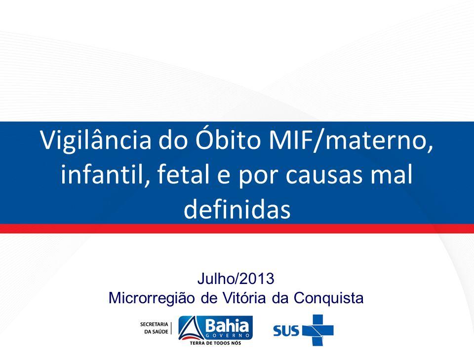 Julho/2013 Microrregião de Vitória da Conquista Vigilância do Óbito MIF/materno, infantil, fetal e por causas mal definidas