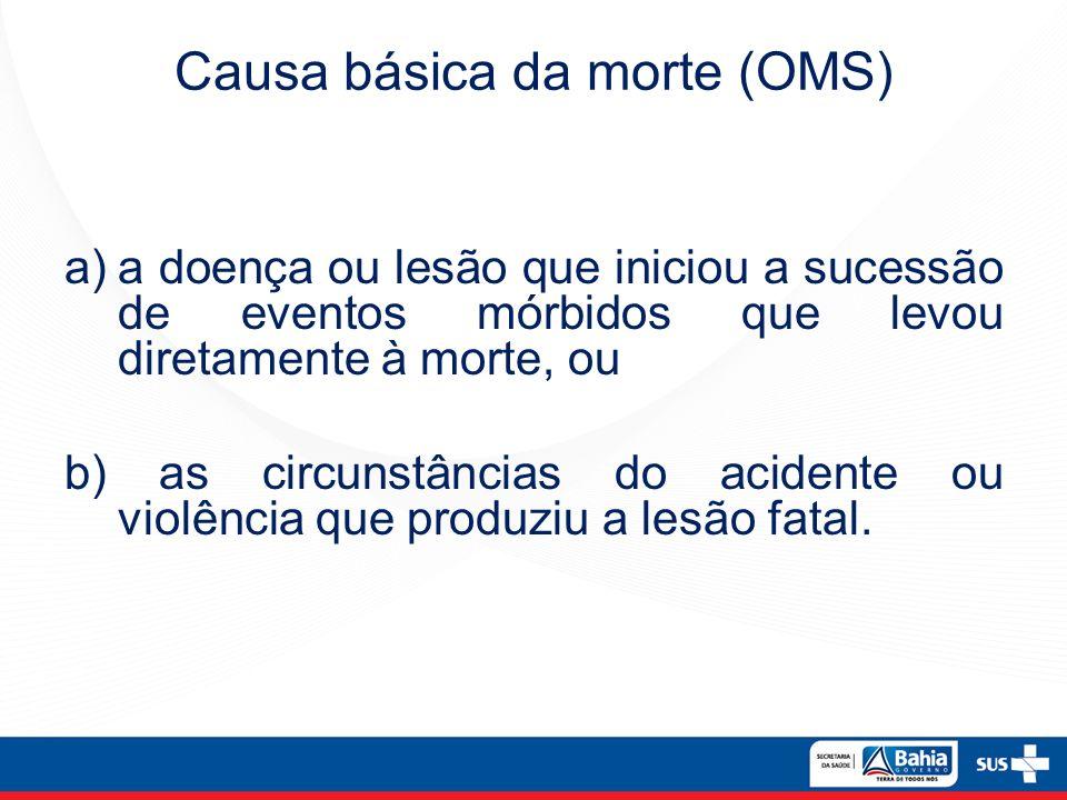a)a doença ou lesão que iniciou a sucessão de eventos mórbidos que levou diretamente à morte, ou b) as circunstâncias do acidente ou violência que pro
