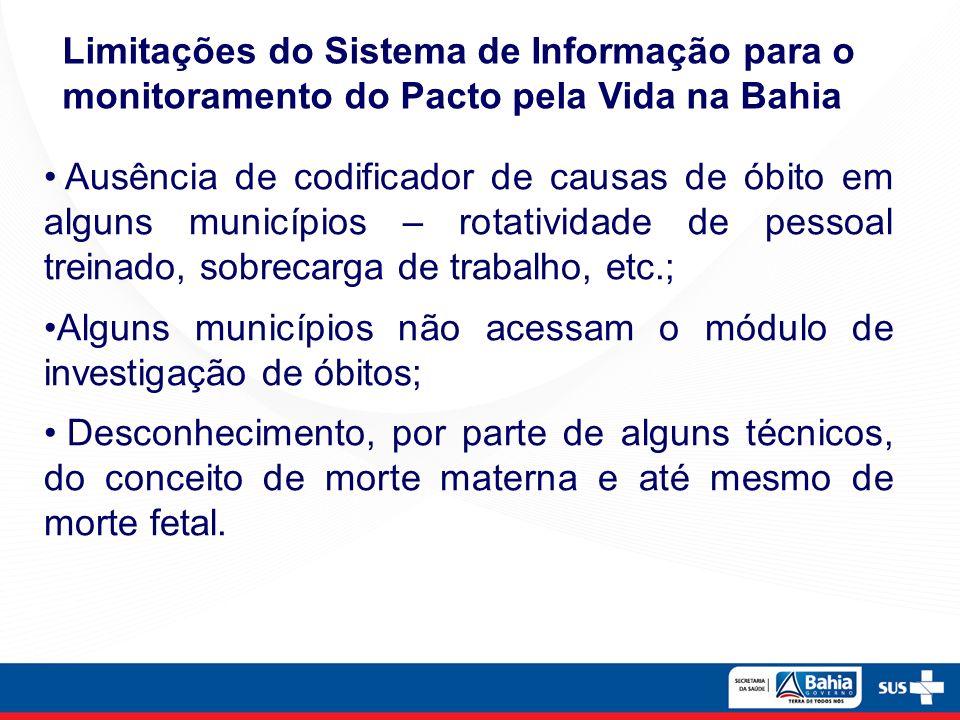 Ausência de codificador de causas de óbito em alguns municípios – rotatividade de pessoal treinado, sobrecarga de trabalho, etc.; Alguns municípios nã
