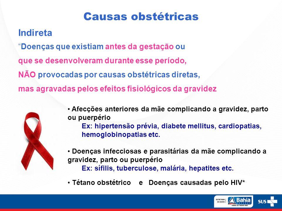Causas obstétricas Indireta Doenças que existiam antes da gestação ou que se desenvolveram durante esse período, NÃO provocadas por causas obstétricas