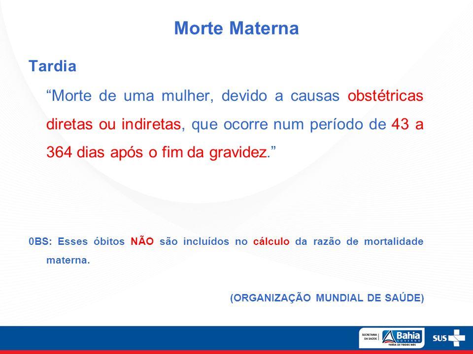 Morte Materna Tardia Morte de uma mulher, devido a causas obstétricas diretas ou indiretas, que ocorre num período de 43 a 364 dias após o fim da grav