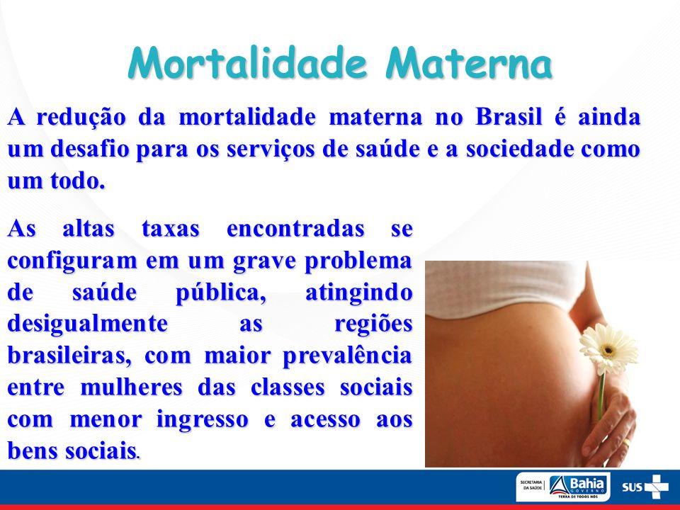 Mortalidade Materna A redução da mortalidade materna no Brasil é ainda um desafio para os serviços de saúde e a sociedade como um todo. As altas taxas