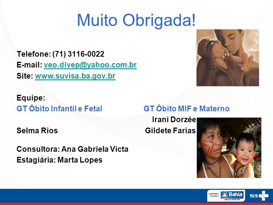 Muito Obrigada! Telefone: (71) 3116-0022 E-mail: veo.divep@yahoo.com.brveo.divep@yahoo.com.br Site: www.suvisa.ba.gov.brwww.suvisa.ba.gov.br Equipe: G
