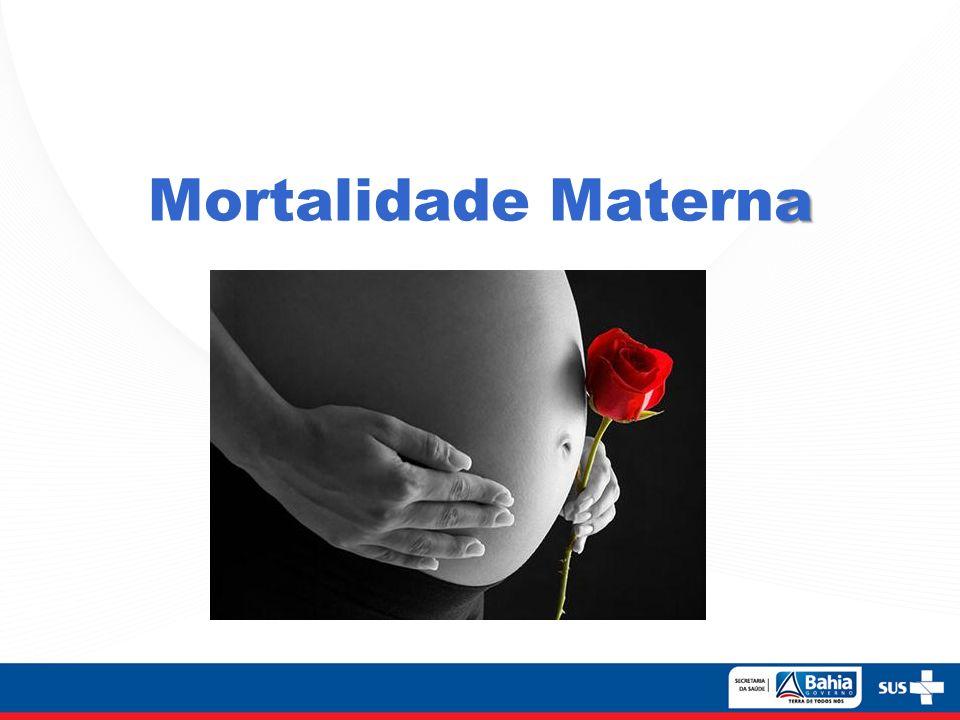 Óbitos maternos ( O00 a O95+ O98+O99)* Nascidos vivos 100.000 RMM RAZÃO DE MORTALIDADE MATERNA *Óbitos maternos codificados fora do capítulo XV da CID-10: -B20 – B24 – Doença causada pelo HIV -A34 – Tétano obstétrico -D39.2 – Neoplasia de placenta -E23.0 – Necrose pós parto da hipófise -M83.0 – Osteomalácea puerperal -F.53 – Transtornos mentais e comportamentais associados ao puerpério