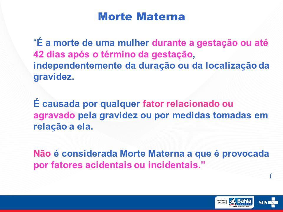 Morte Materna É a morte de uma mulher durante a gestação ou até 42 dias após o término da gestação, independentemente da duração ou da localização da