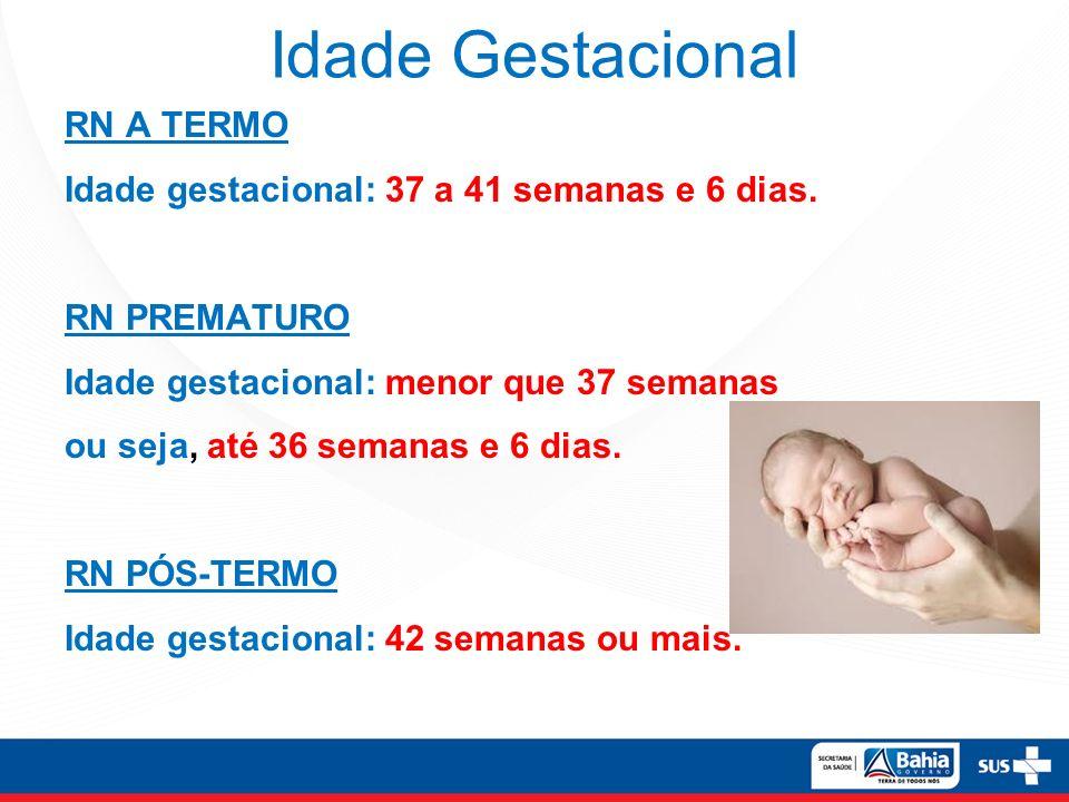 Idade Gestacional RN A TERMO Idade gestacional: 37 a 41 semanas e 6 dias. RN PREMATURO Idade gestacional: menor que 37 semanas ou seja, até 36 semanas