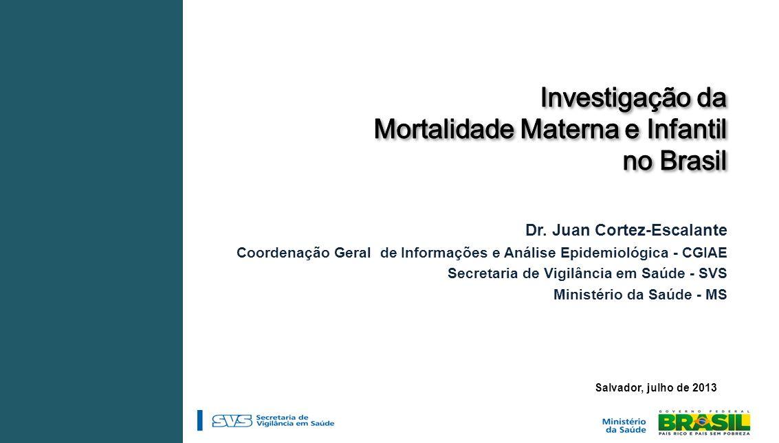 Salvador, julho de 2013 Dr. Juan Cortez-Escalante Coordenação Geral de Informações e Análise Epidemiológica - CGIAE Secretaria de Vigilância em Saúde