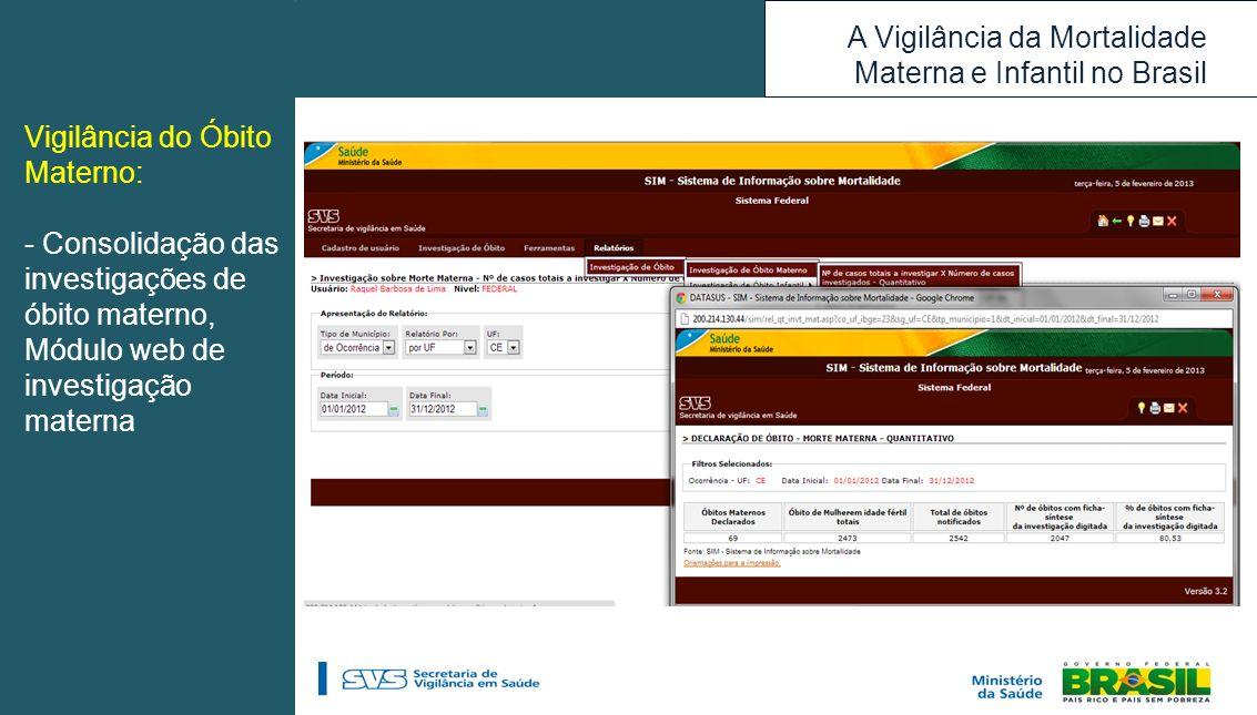A Vigilância da Mortalidade Materna e Infantil no Brasil Vigilância do Óbito Materno: - Consolidação das investigações de óbito materno, Módulo web de