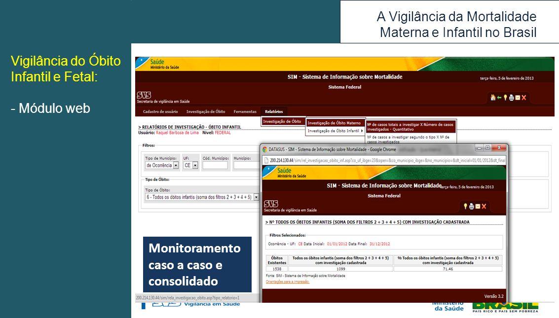 A Vigilância da Mortalidade Materna e Infantil no Brasil Monitoramento caso a caso e consolidado Vigilância do Óbito Infantil e Fetal: - Módulo web