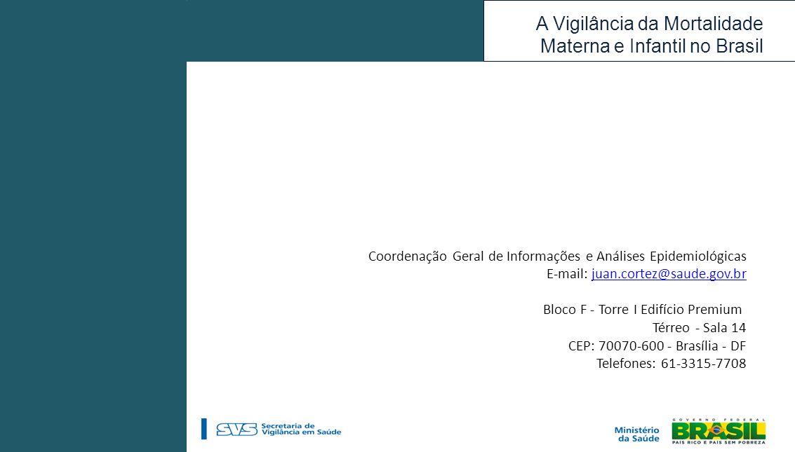 A Vigilância da Mortalidade Materna e Infantil no Brasil Coordenação Geral de Informações e Análises Epidemiológicas E-mail: juan.cortez@saude.gov.brj