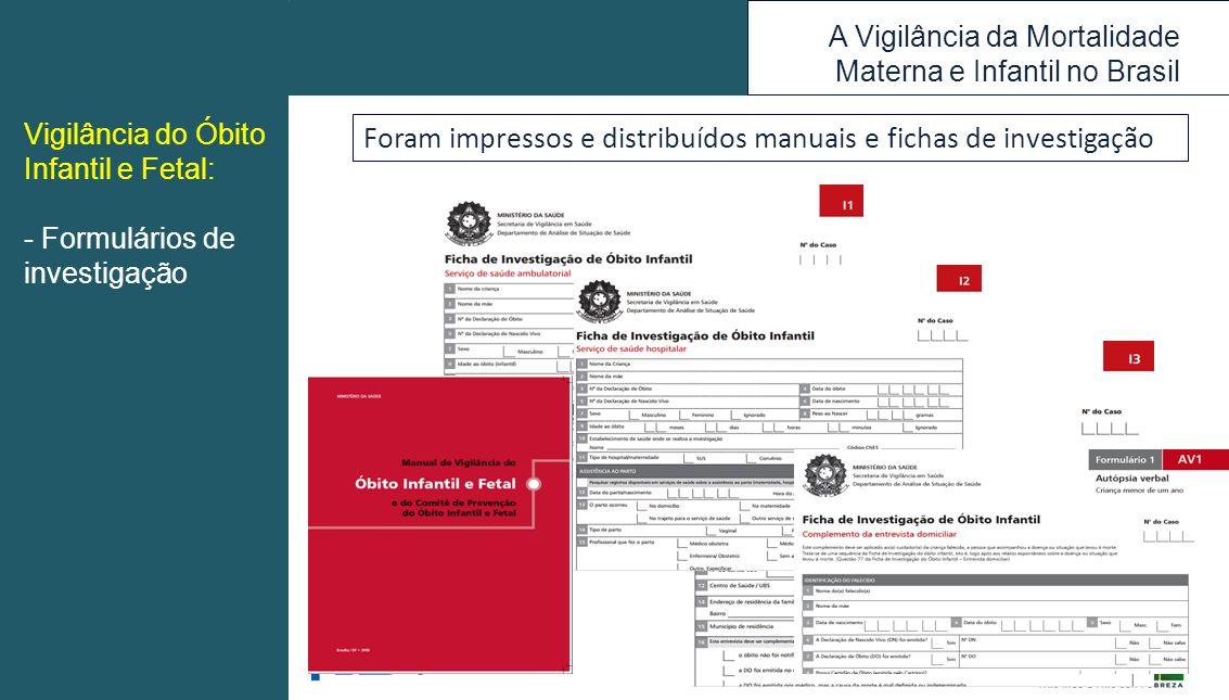 A Vigilância da Mortalidade Materna e Infantil no Brasil Vigilância do Óbito Infantil e Fetal: - Formulários de investigação Foram impressos e distrib