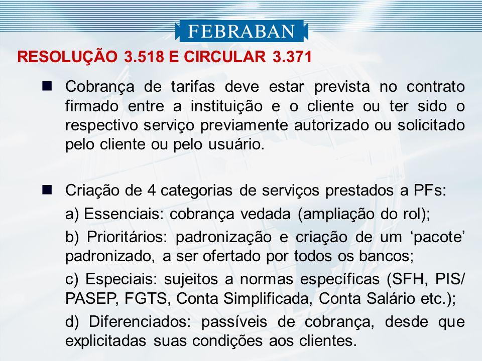 RESOLUÇÃO 3.518 E CIRCULAR 3.371 Cobrança de tarifas deve estar prevista no contrato firmado entre a instituição e o cliente ou ter sido o respectivo