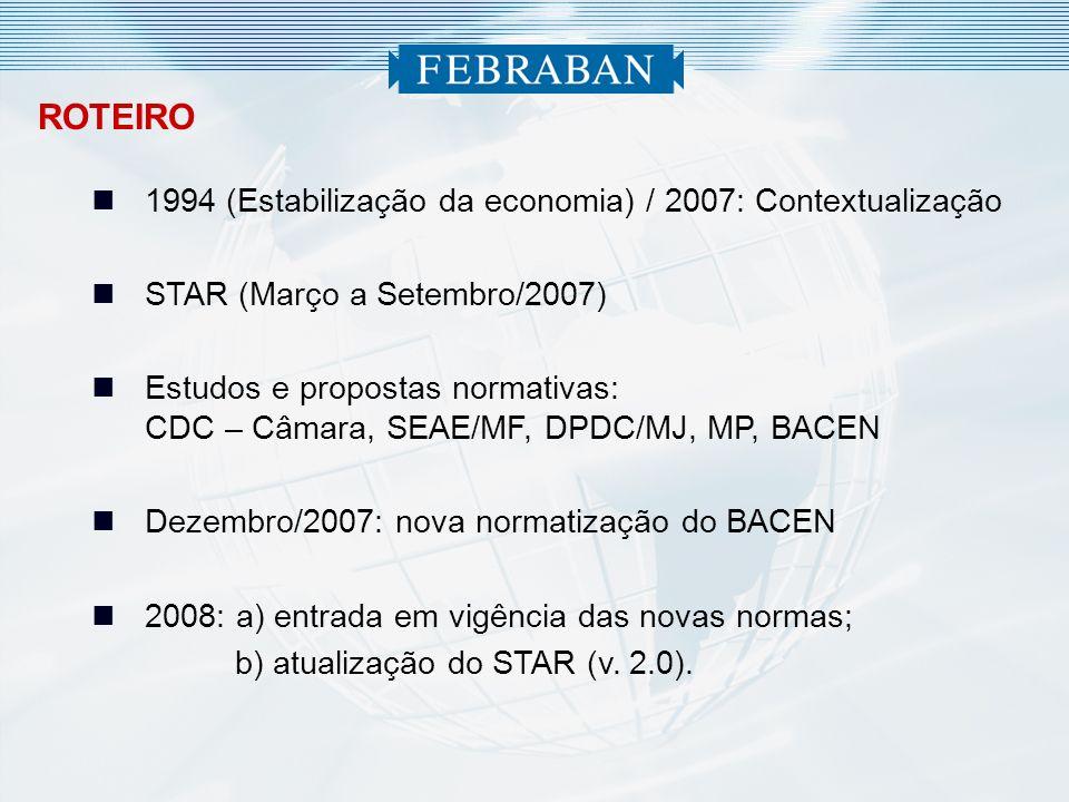 ROTEIRO 1994 (Estabilização da economia) / 2007: Contextualização STAR (Março a Setembro/2007) Estudos e propostas normativas: CDC – Câmara, SEAE/MF,