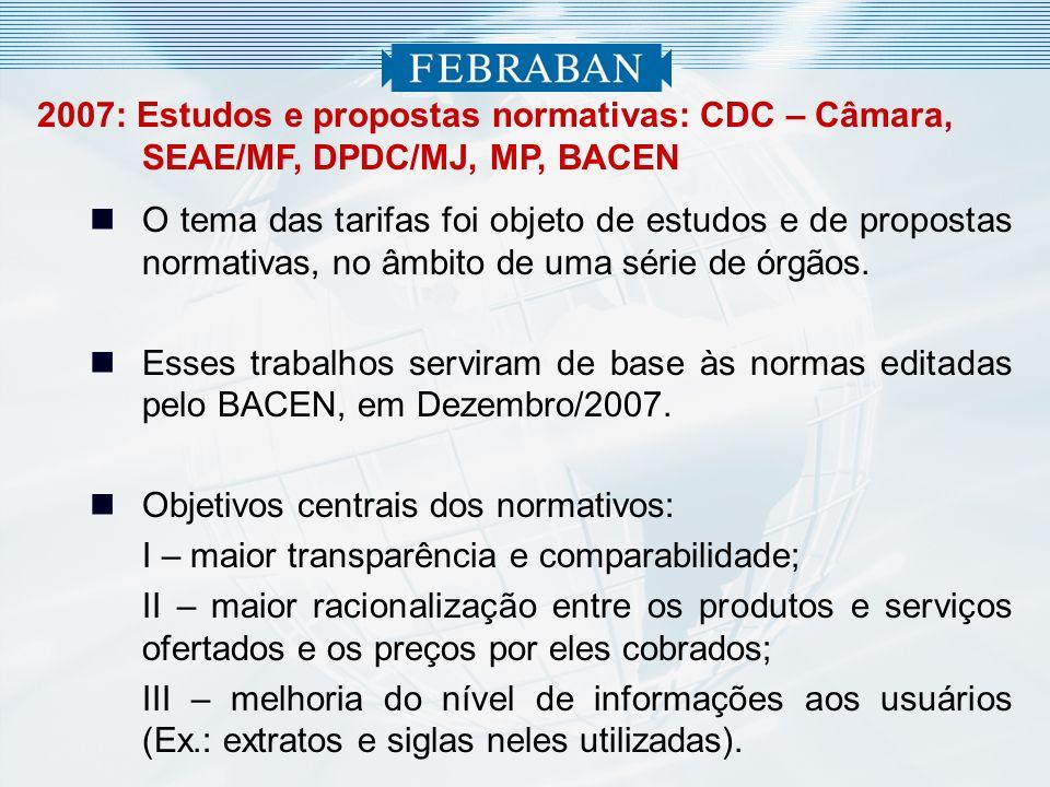 2007: Estudos e propostas normativas: CDC – Câmara, SEAE/MF, DPDC/MJ, MP, BACEN O tema das tarifas foi objeto de estudos e de propostas normativas, no