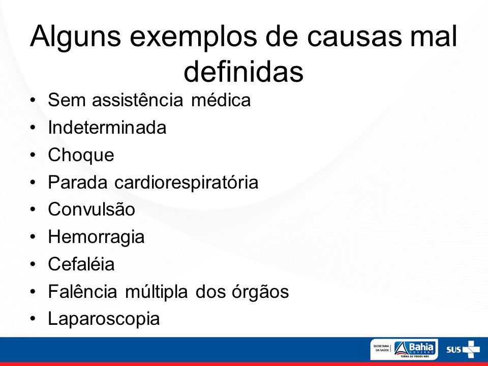 Alguns exemplos de causas mal definidas Sem assistência médica Indeterminada Choque Parada cardiorespiratória Convulsão Hemorragia Cefaléia Falência m