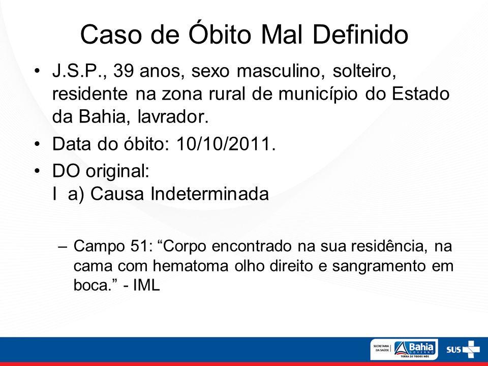 Caso de Óbito Mal Definido J.S.P., 39 anos, sexo masculino, solteiro, residente na zona rural de município do Estado da Bahia, lavrador. Data do óbito