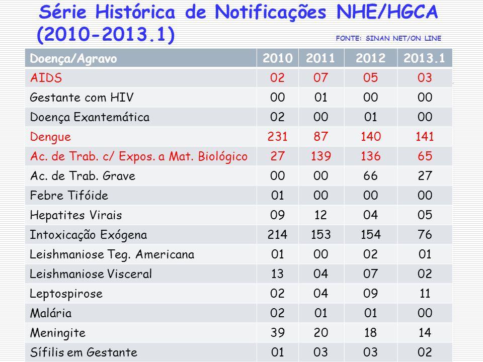 Série Histórica de Notificações NHE/HGCA (2010-2013.1) FONTE: SINAN NET/ON LINE Doença/Agravo2010201120122013.1 AIDS02070503 Gestante com HIV000100 Do