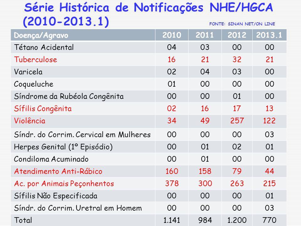Série Histórica de Notificações NHE/HGCA (2010-2013.1) FONTE: SINAN NET/ON LINE Doença/Agravo2010201120122013.1 Tétano Acidental040300 Tuberculose1621