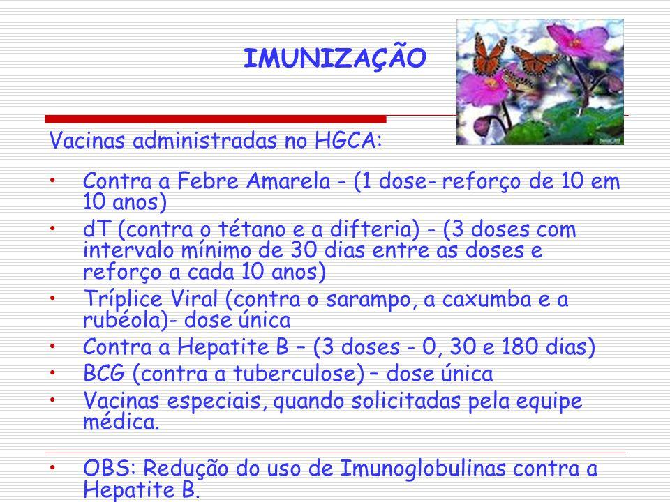IMUNIZAÇÃO Vacinas administradas no HGCA: Contra a Febre Amarela - (1 dose- reforço de 10 em 10 anos) dT (contra o tétano e a difteria) - (3 doses com