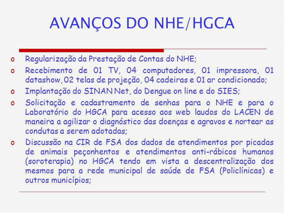 AVANÇOS DO NHE/HGCA oRegularização da Prestação de Contas do NHE; oRecebimento de 01 TV, 04 computadores, 01 impressora, 01 datashow, 02 telas de proj