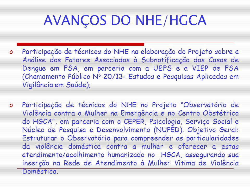 AVANÇOS DO NHE/HGCA oParticipação de técnicos do NHE na elaboração do Projeto sobre a Análise dos Fatores Associados à Subnotificação dos Casos de Den