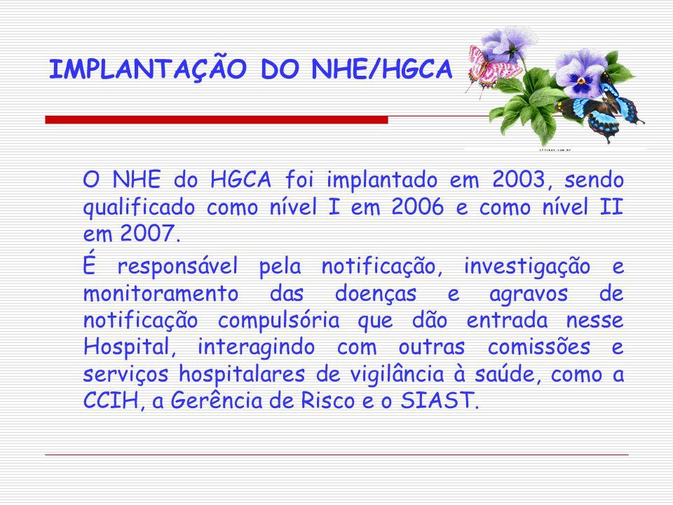 IMPLANTAÇÃO DO NHE/HGCA O NHE do HGCA foi implantado em 2003, sendo qualificado como nível I em 2006 e como nível II em 2007. É responsável pela notif