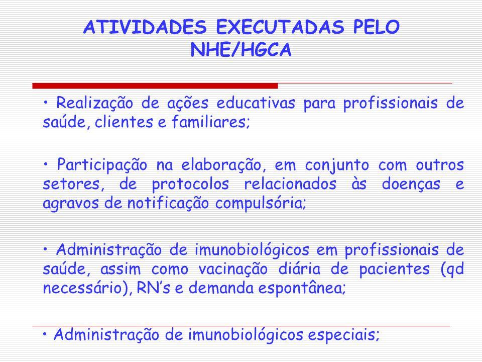 ATIVIDADES EXECUTADAS PELO NHE/HGCA Realização de ações educativas para profissionais de saúde, clientes e familiares; Participação na elaboração, em