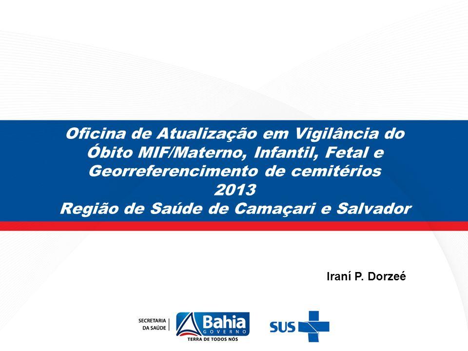 Oficina de Atualização em Vigilância do Óbito MIF/Materno, Infantil, Fetal e Georreferencimento de cemitérios 2013 Região de Saúde de Camaçari e Salva