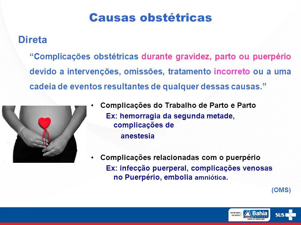 Causas obstétricas Direta Complicações obstétricas durante gravidez, parto ou puerpério devido a intervenções, omissões, tratamento incorreto ou a uma