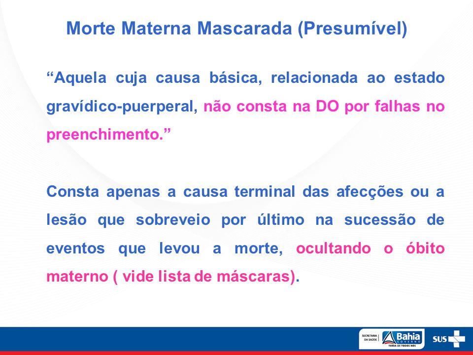 Morte Materna Mascarada (Presumível) Aquela cuja causa básica, relacionada ao estado gravídico-puerperal, não consta na DO por falhas no preenchimento