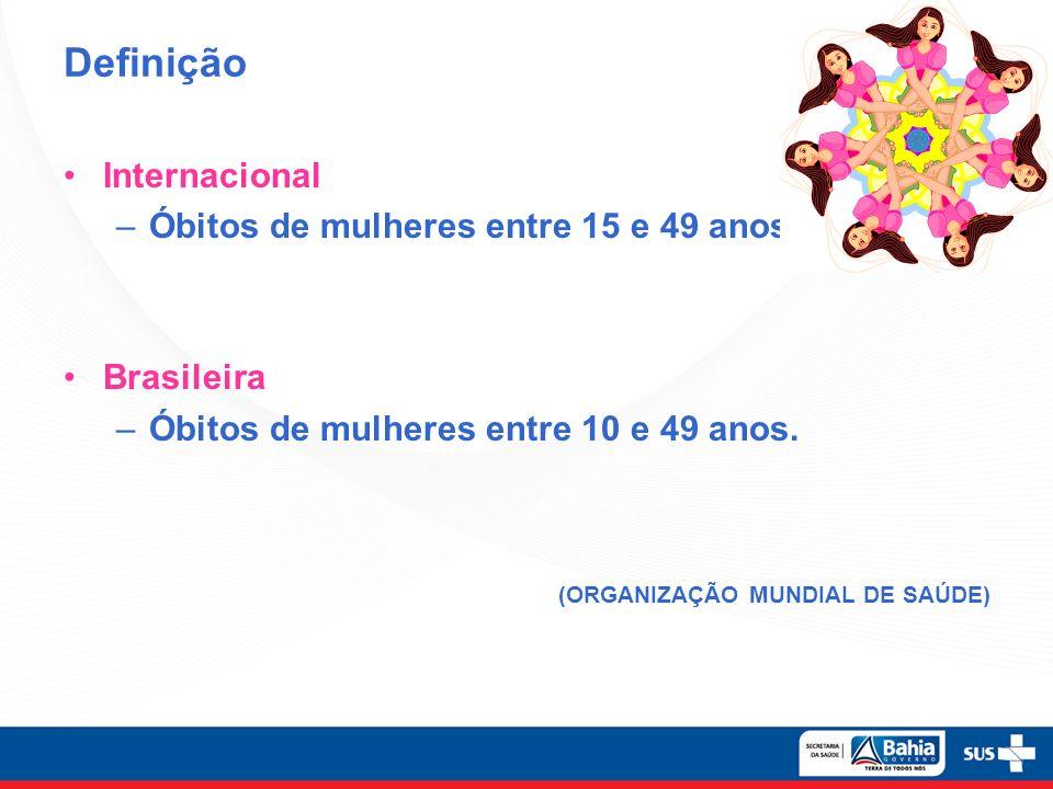 Definição Internacional –Óbitos de mulheres entre 15 e 49 anos. Brasileira –Óbitos de mulheres entre 10 e 49 anos. (ORGANIZAÇÃO MUNDIAL DE SAÚDE)
